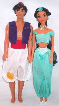 (Aladdin & Jasmine Barbie 1992) Hey, there was this one time that the Disney Barbies actually LOOKED like the characters. But now, not so much.  I had this Jasmine, btw.
