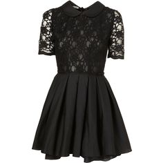 TOPSHOP Poppy Lace Dress by Jones and Jones** (£60) ❤ liked on Polyvore featuring dresses, topshop, vestidos, black, lacy dress, sheer cocktail dress, sheer lace dress, short sleeve cocktail dresses and lace cocktail dress