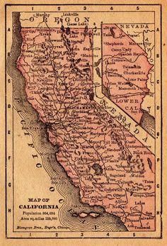 1888 Antique CALIFORNIA Map ORIGINAL Vintage MINIATURE Map  3716