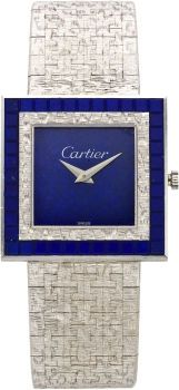 Timepieces:Wristwatch, Cartier Lapis Lazuli White Gold Integral Bracelet Wristwatch byPiaget, circa 1970. ...
