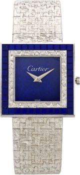Emmy DE * Cartier Lapis Lazuli White Gold Integral Bracelet Wristwatch by Piaget, circa 1970