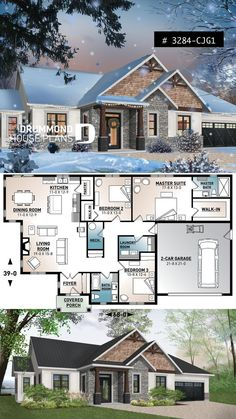 3 bedroom home plan ceiling large master suite open layout pantry fireplace laundry room &; 3 bedroom home plan ceiling large master suite open layout pantry fireplace laundry room &; House Plans One Story, New House Plans, Dream House Plans, Small House Plans, Dream Houses, Bungalow House Plans, House Plan With Basement, Rambler House Plans, Victorian Houses