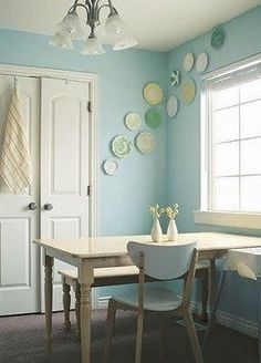plates.. i want to do something like this in pur dining room with my red ware Gallery Wall Ideas, Plate Walls Gallery Walls