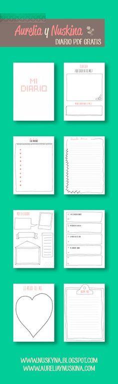 Diario personal mes a mes para descargar gratis. Varias páginas distintas.Imprimibles gratis para organización, scrapbooking..