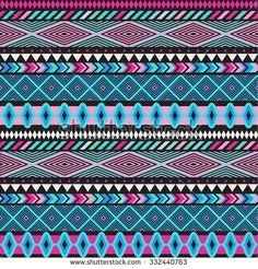 Seamless vector tribal texture. Tribal seamless texture. Vintage ethnic seamless backdrop. Boho stripes. Striped vintage boho fashion style pattern background with tribal shape elements.