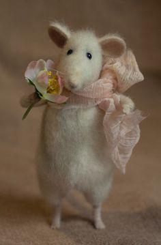 Stuffed Animals by Natasha Fadeeva - stuffed mouse with flower