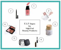 The best ELF dupes for expensive high-end and name-brand makeup. List includes blush, concealer, Benefit High Beam, and pen liquid eye liner.