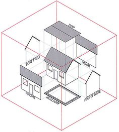 simple house orthographic projection drawing