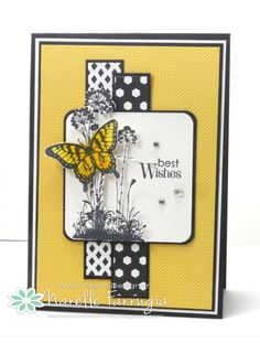 Stampin' Up! handmade card for card making sketch: Freshly Made Sketches 154 . black, white and yellow . luv the sketch interpretation and the use of color . Hand Made Greeting Cards, Greeting Cards Handmade, Card Making Inspiration, Making Ideas, Stamping Up Cards, Rubber Stamping, Card Tags, Card Kit, Butterfly Cards