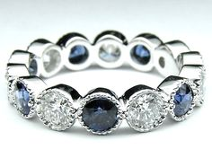 Diamond & Blue Sapphire Vintage Eternity Wedding Ring