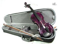 Set vioara clasica din lemn, PowerFlower design elegant, special pentru doamne/domnisoare  culoare MOV/LILA cu floricele Marca : Cherrys