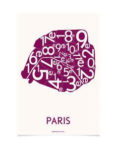 PARIS, bordeaux 50×70 cm