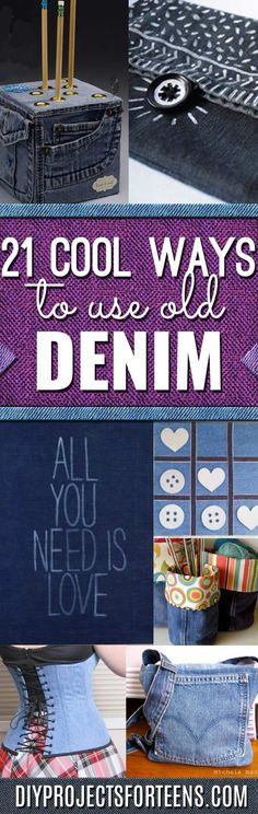 DIY Crafts with Old Denim Jeans - Cool Projects and Fashion You Can Make With Old Jeans - Fun Crafts for Teens and Adults, Inexpensive Ones - Denim DYI Makeover, Projects to Make With Leftover Fabric Scraps from jeans pockets via @diyprojectteens Teen Sewing Projects, Diy Fashion Projects, Cool Diy Projects, Sewing Hacks, Art Projects, Diy Jeans, Jean Crafts, Denim Crafts, Upcycled Crafts