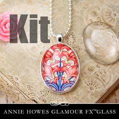 Glass & Pendant Tray Necklace Kit - 22x30 Oval Cabochon Kit