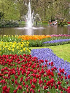 spring, fountain in Kuekenhof  Gardens, The Netherlands