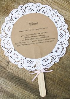 doily wedding program fans, custom vintage-inspired wedding decor and accessories, handmade decor and accessories for life's special moments, Belle Amour Designs