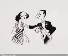 Al Hirschfeld. The Thin Man, Myrna Loy as Nora, William Powell as Nick Charles holding Asta (as Asta?)