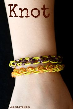Rainbow Loom Knot-this is an easy level bracelet-the tutorial for this bracelet is by RainbowLoomGirl on Loom Love.