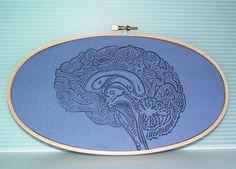 Embroidery Hoop Art Blue Brain Linocut Geekery by VintageUpcycled, $18.00