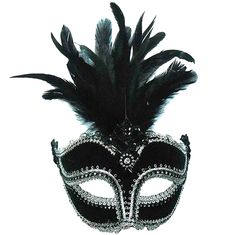 Black Velvet Masquerade Mask with Tall Feathers
