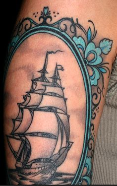 Oddly, I stumbled upon a picture of my ship tattoo here on pinterest...ha! Cool. Strange, but cool:)