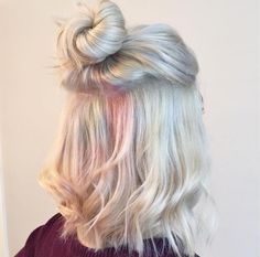 Add in the pastel hair colors. and you have delicate and beautiful hair mixes. Opal Hair, Dyed Hair Pastel, Lilac Hair, Hair Day, Gorgeous Hair, Pretty Hairstyles, Bun Hairstyles, Latest Hairstyles, Wedding Hairstyles