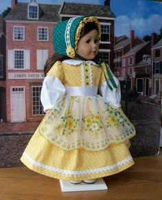 Mid 1800's Gown with vintage hanky Apron,  Bonnet and Pantalettes, by Farmcookies via Etsy  $89.50