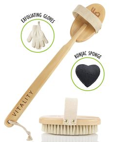 Best Body Brush Exfoliation System for Dry Skin Brushing, Includes Exfoliating Gloves and Konjac Face Sponge, Reduce Cellulite and Boost Lymphatic System, Back Massager Scrubber with Natural Boar Bristle ** You can get more details by clicking on the image. (Note:Amazon affiliate link)