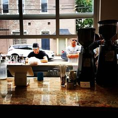 Trailhead Coffee with a pass through window for curb service in Newport KY @reserbicycle by hipgreenscene
