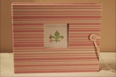 Pink Stripe Fabric Baby Book  (available online www.lilsquirts.net)  New Orleans, Louisiana, North Louisiana, Bebe Acadien, Gulf Coast, Mobile Bay and Atlanta.