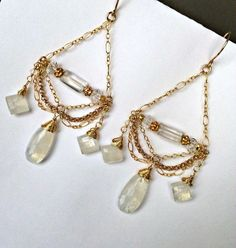 Moonstone Chandelier Earrings 14kt Gold Filled Chain Chandelier Earrings Wire Wrap Moonstone Wedding Earrings
