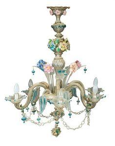 Lustre en verre de Venise polychrome XIXème siècle (accidents et