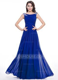 [R$ 498.87] Vestidos princesa/ Formato A Decote redondo Longos De chiffon Vestido de festa com Pregueado Bordado Lantejoulas (017056497)