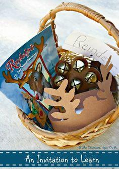 Reindeer Unit Study for Preschooler.  Create a reindeer activity basket with these playful preschool ideas.