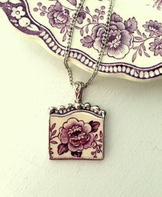 Broken china jewelry necklace pendant with chain antique floral purple plum toile English transferware