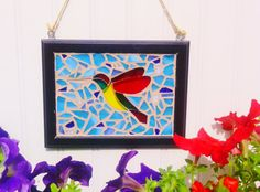 Handmade Stained Glass Mosaic Hummingbird Sun by JBsGlassHouse