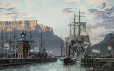 """John Stobart 'Cape Town: The Bark """"William Hales"""" Towing Out of Port in limited edition print showing the American bark, WILLIAM HALES. Making Water, South African Art, Cape Town South Africa, Historical Pictures, Tall Ships, African History, Old Photos, Vintage Photos, Sailing Ships"""