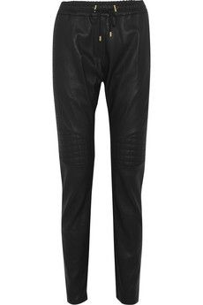 Balmain Quilted leather tapered pants | NET-A-PORTER