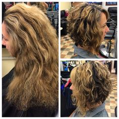 Dramatic cut! Inverted bob for curly hair