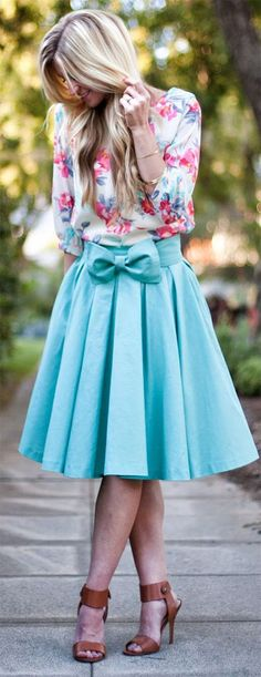 I like the floral top by itself and the skirt by itself too. Together, I think the combo is even better. Like the colors and print. Great cut and style.