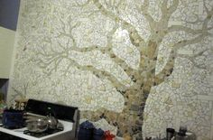 DIY tree mosaic wall. how gorgeous for a white bathroom?