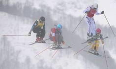 Atletas competem em prova feminina do esqui cross-country estilo livre. Foto: Peter Parks/AFP
