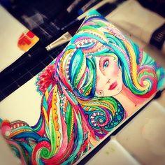 swirly hair doodle