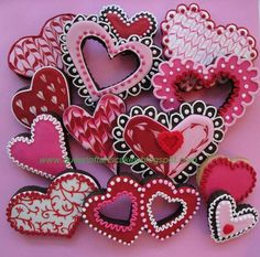 Mixed Heart Valentine Cookies Pink Red White 1 dozen $45