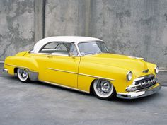 1952 Chevy Deluxe via kamamore Classic and antique cars. Sometimes custom cars but mostly classic/vintage stock vehicles. Yellow Car, Mellow Yellow, Bright Yellow, Color Yellow, Gray Yellow, Chevy, Us Cars, Sport Cars, Vintage Cars