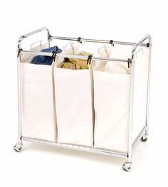 Wheeled Laundry Rolling Cart Carrier 3 Bagging Storage Protection   This 3-Bag Laundry Sorter will keep your colors, whites and delicates separate. Each heavy duty draw string canvas bag can hold up to one load of laundry. Constructed from chrome wire frame, this unit can also move easily with his lockable wheels. The bags are also supported by a wire grid tray system on the bottom shelf for added support. This unit measures 30.75-inches by 18-inches and by 33-inches high.