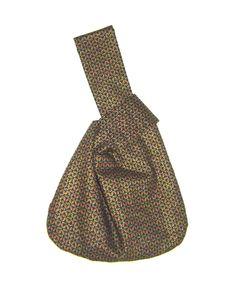 Japanese knot bag black and gold wristlet small purse handmade $28.00