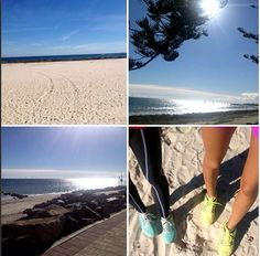 Beautiful beach walks with @desi_t - Such a nice day here in Adelaide S.A!! #kaylaitsines #gym #workout