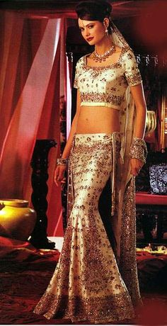A fish tail lehenga is fitted till the knee when it flares suddenly giving a lot of room at the hem, resembling the tail of a fish. The shape shows off the waist and the hips and is hence recommended to be worn by people with hourglass figures.