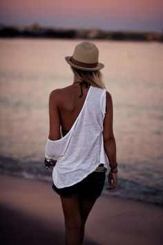 Summer night walk on the beach. [Off the shoulder loose white tee]